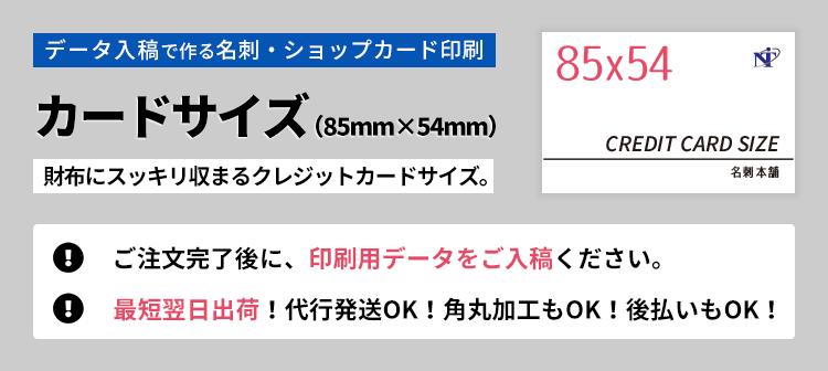 データ入稿で作る名刺・ショップカード印刷。カードサイズ(85mm×54mm)の詳細ページです。