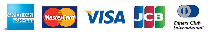VISA、MASTERCARD、JCB、DINERSCLUB、AMERICANEXPRESSの5大クレジットカードがご利用いただけます。