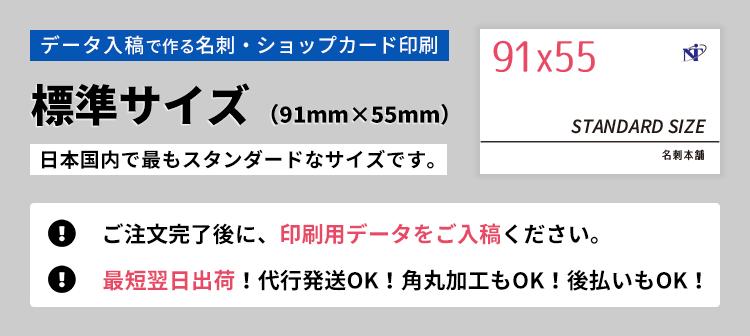 データ入稿で作る名刺・ショップカード印刷。標準サイズ(91mm×55mm)の詳細ページです。