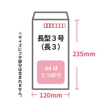 長3封筒のサイズ説明です。縦235mm×横120mm(フタは含まず)。A4は3つ折りで入ります