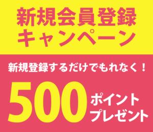 新規会員登録で500ポイントプレゼント実施中!