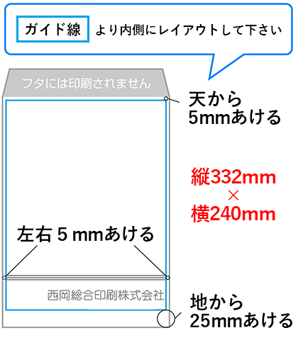 角2封筒のデータ作成時のポイントは、データサイズは縦332mm×横240mm(フタ含まず)。レイアウトは天・左右に5mm・地に25mmを余白とし、その内側に作成してください。