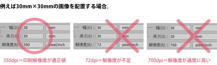 埋め込み配置する印刷用の画像は、解像度を適正値(300dpi~350dpiが推奨)にしてください。