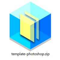 ダウンロードボタンをクリックすると、Photoshop(psd形式)のデータ作成専用のテンプレートファイルがダウンロードされます。